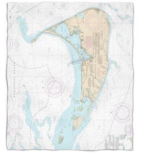 Massachusetts: Nantucket, MA Nautical Chart Fleece Throw Blanket