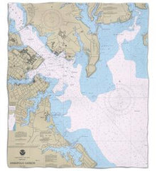 Maryland: Annapolis Harbor, MD Nautical Chart Fleece Throw Blanket
