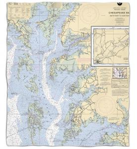 Maryland - Virginia: Chesapeake Bay, MD-VA Nautical Chart Fleece Throw Blanket