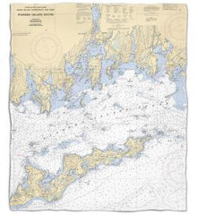Connecticut: Fishers Island Sound, CT Nautical Chart Fleece Throw Blanket
