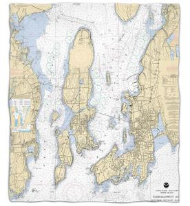 Rhode Island: Narragansett Bay, RI Nautical Chart Fleece Throw Blanket