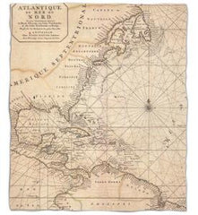 Old World Nautical Chart Fleece Throw Blanket