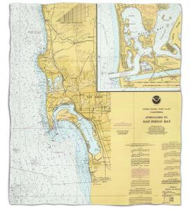 California: San Diego, CA Nautical Chart Fleece Throw Blanket