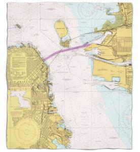 California: San Francisco, CA Nautical Chart Fleece Throw Blanket