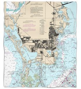 Florida: St. Petersburg, FL Nautical Chart Fleece Throw Blanket