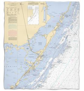 Florida: Key Largo, FL Nautical Chart Fleece Throw Blanket