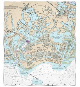 Florida: Marco Island, FL Nautical Chart Fleece Throw Blanket