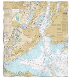 New York: New York Harbor, NY Nautical Chart Fleece Throw Blanket