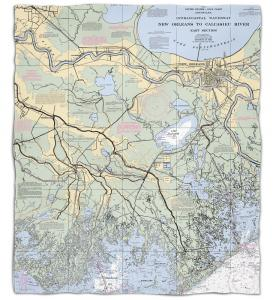 Louisiana: New Orleans, LA Nautical Chart Fleece Throw Blanket
