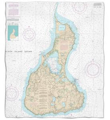 Rhode Island: Block Island, RI Nautical Chart Fleece Throw Blanket