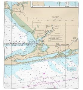 Alabama: Gulf Shores, AL Nautical Chart Fleece Throw Blanket