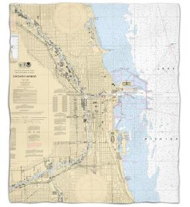 Illinois: Chicago Harbor, IL Nautical Chart Fleece Throw Blanket