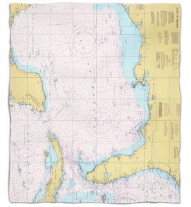 Gulf of Mexico Nautical Chart Fleece Throw Blanket