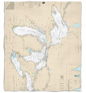 Great Lakes Nautical Chart Fleece Throw Blanket