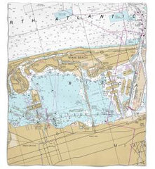 Florida: Miami Beach, FL Nautical Chart Fleece Throw Blanket