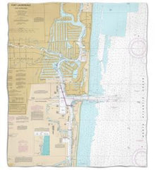 Florida: Fort Lauderdale, FL Nautical Chart Fleece Throw Blanket