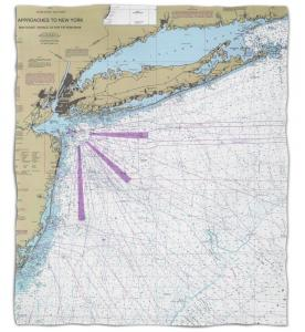 New York: Long Island, NY Nautical Chart Fleece Throw Blanket