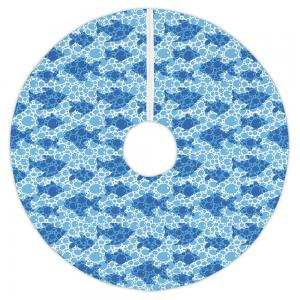 Blue Fish Bubbles Christmas Tree Skirt