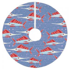 Sailfish School Coral Christmas Tree Skirt