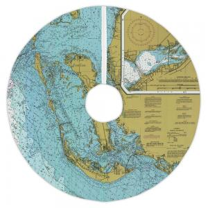 Sanibel Island, FL Nautical Chart Christmas Tree Skirt