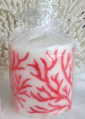 Candle Pillar White with Red Coral Inlay