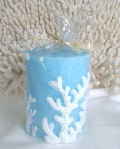 Candle Pillar Blue with White Coral Embossed