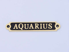 Solid Brass/Black Aquarius Sign 5
