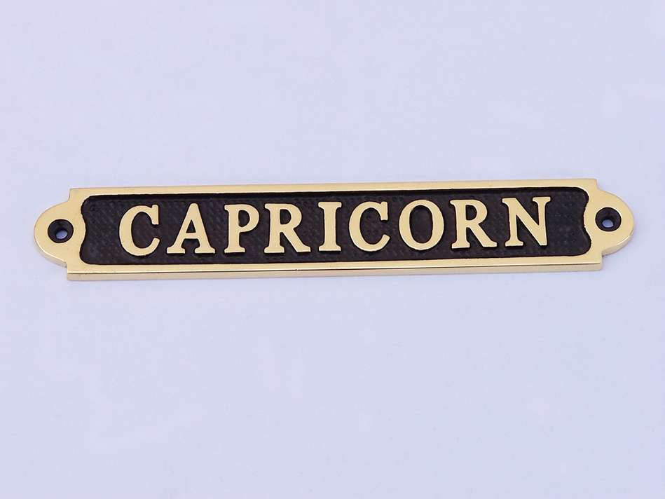 Solid Brass/Black Capricorn Sign 6