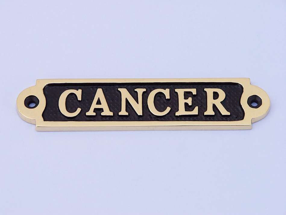 Solid Brass/Black Cancer Sign 5
