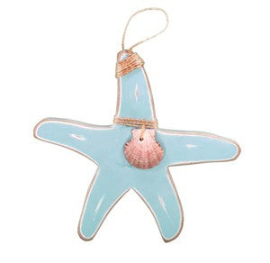 Starfish Hanging with Shell - Aqua