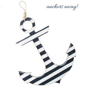 Anchor - White/Navy Stripe with Rope Hanger