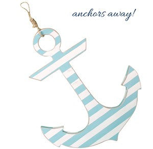 Anchor - White/Aqua Stripe with Rope Hanger