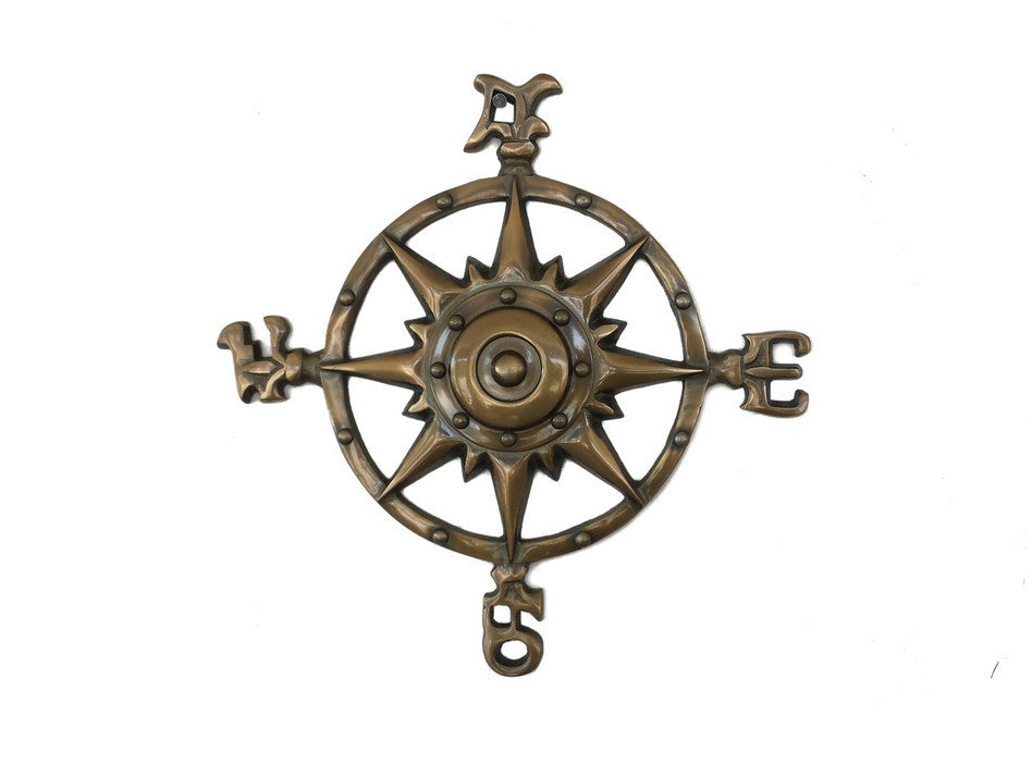Antique Brass Rose Compass 12