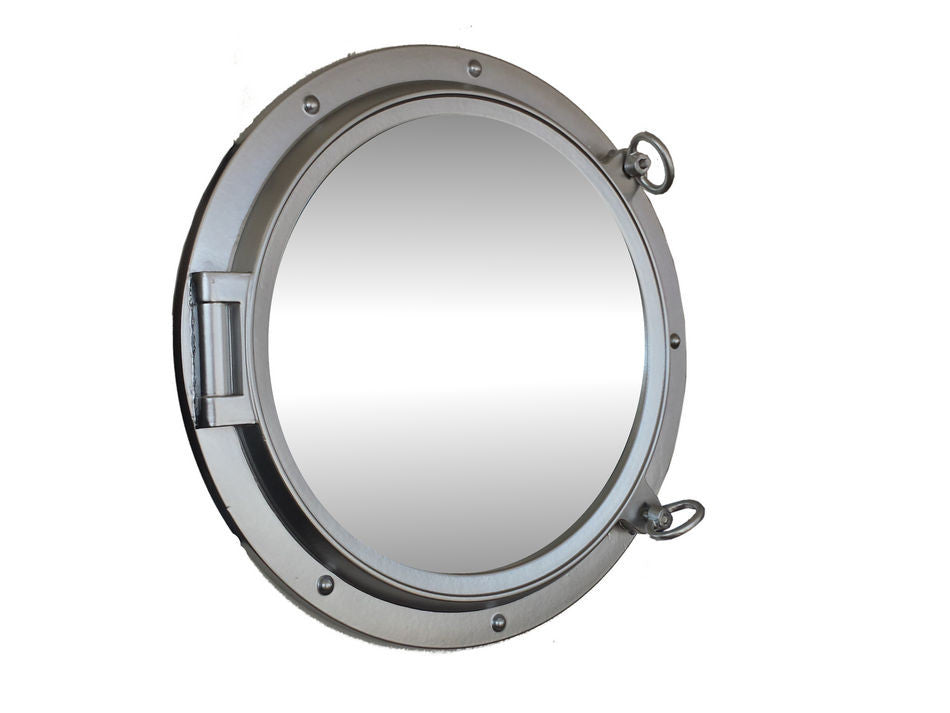 Silver Finish Porthole Mirror 24