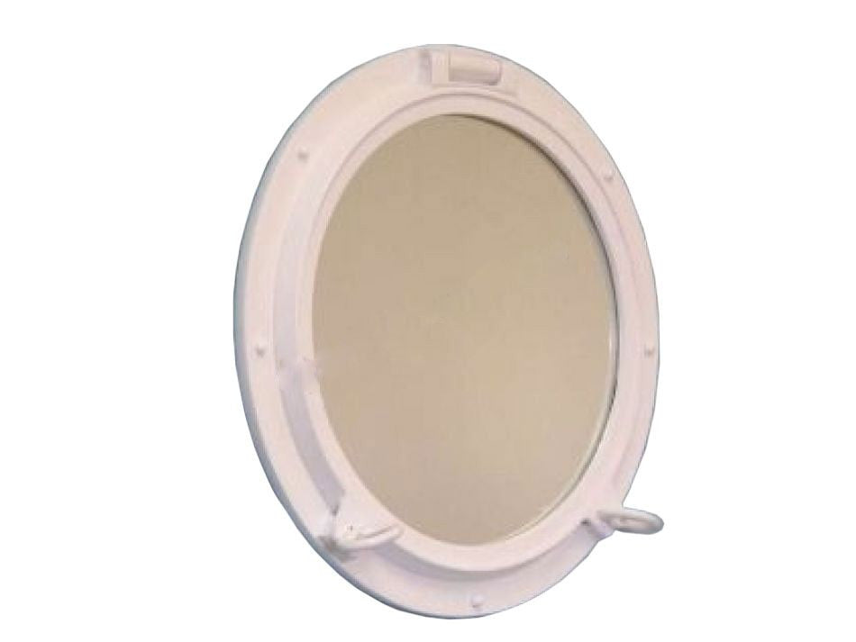 Gloss White Finish Porthole Mirror 24