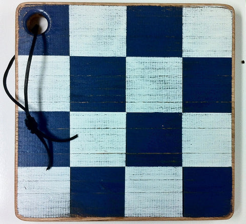Coastal Checkers Cutting Board - Nautical Letter N