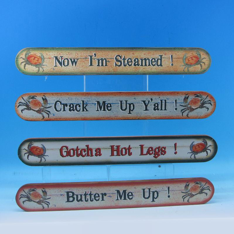 Set of 4 - Wooden Crab Beach Signs 18