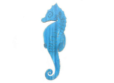 Wooden Rustic Light Blue Wall Mounted Seahorse Decoration 36