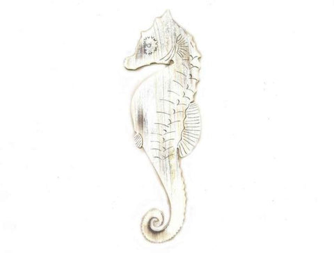 Wooden Rustic Whitewashed Wall Mounted Seahorse Decoration 36