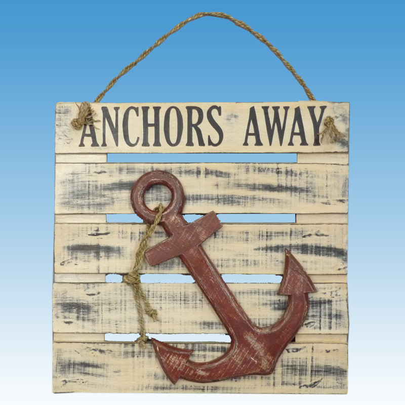 Wooden Anchors Away Wall Plaque 20