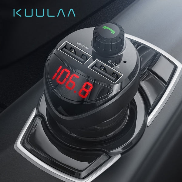 KUULAA Car Charger FM Transmitter Bluetooth  Audio Car Kit 3.4A Dual USB Car Phone Charger