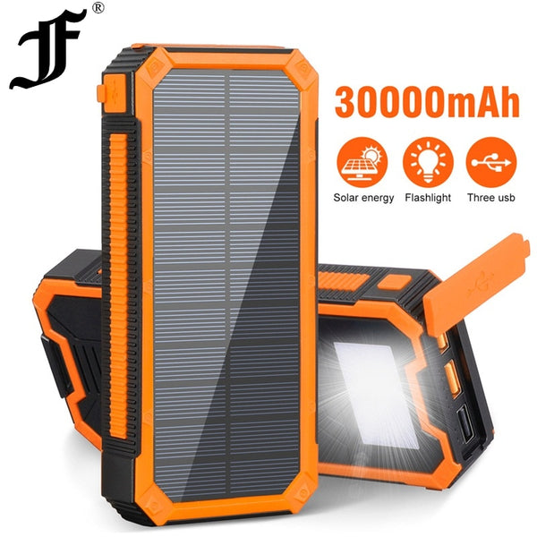 30000mAh Solar Waterproof Portable Power Bank