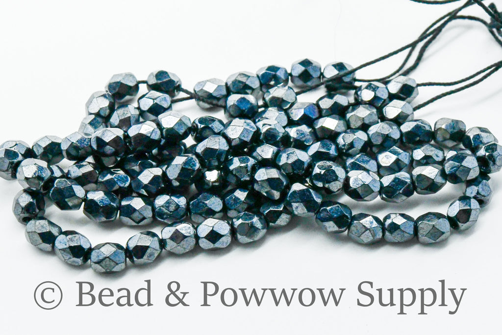 4mm Fire Polish Metallic Gunmetal (100 beads)