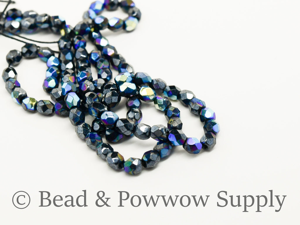 4mm Fire Polish Metallic Iris Gunmetal (100 beads)