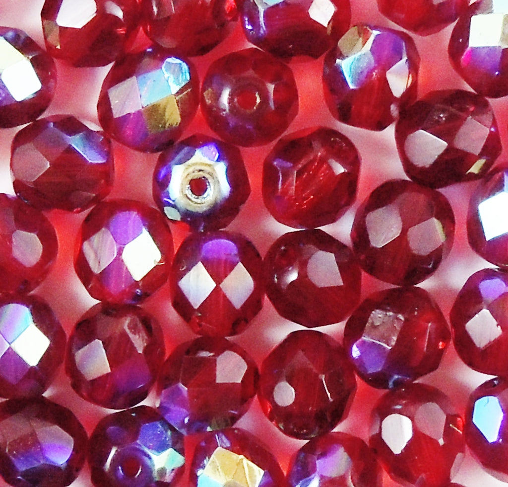 8mm Fire Polished (50 pcs) Transparent AB Ruby