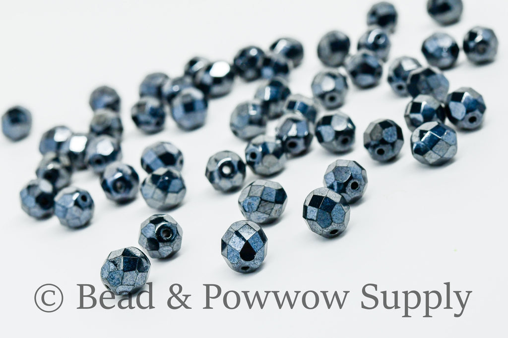 8mm Fire Polish Metallic Iris Gunmetal (50 beads)