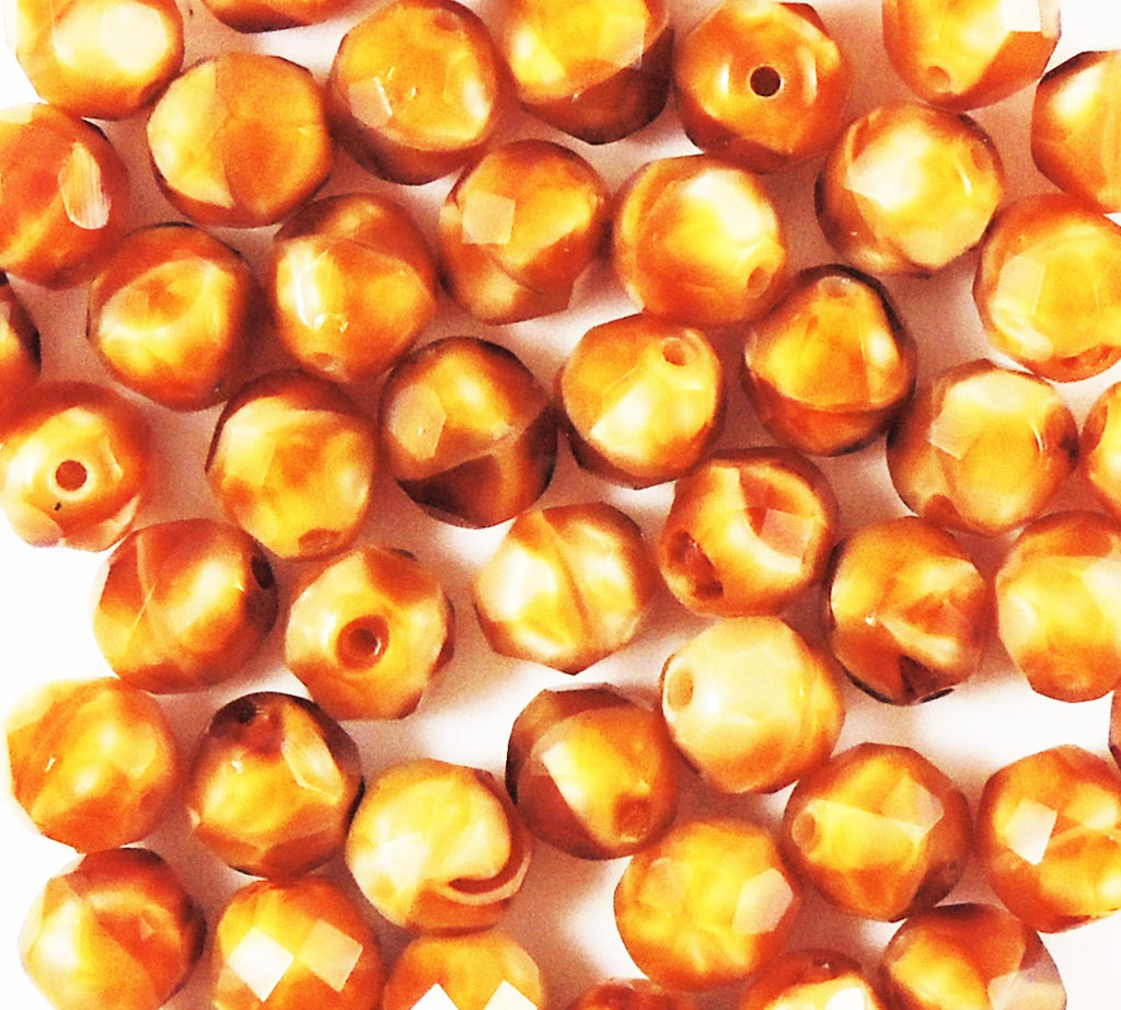 8mm Fire Polished  Ombre Opaque Brown-Rust