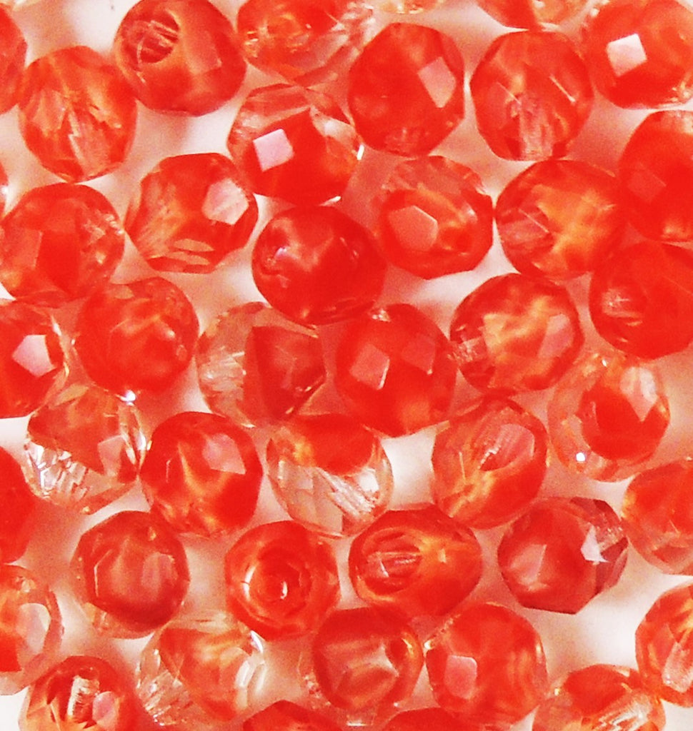 8mm Fire Polished  Ombre Partial Opaque Crystal-Red