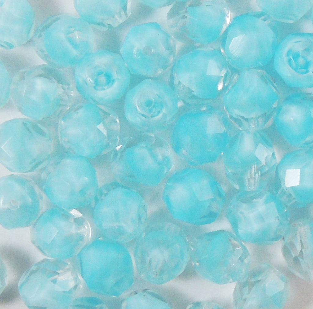 8mm Fire Polished  Ombre Partial Opaque Crystal-Aqua