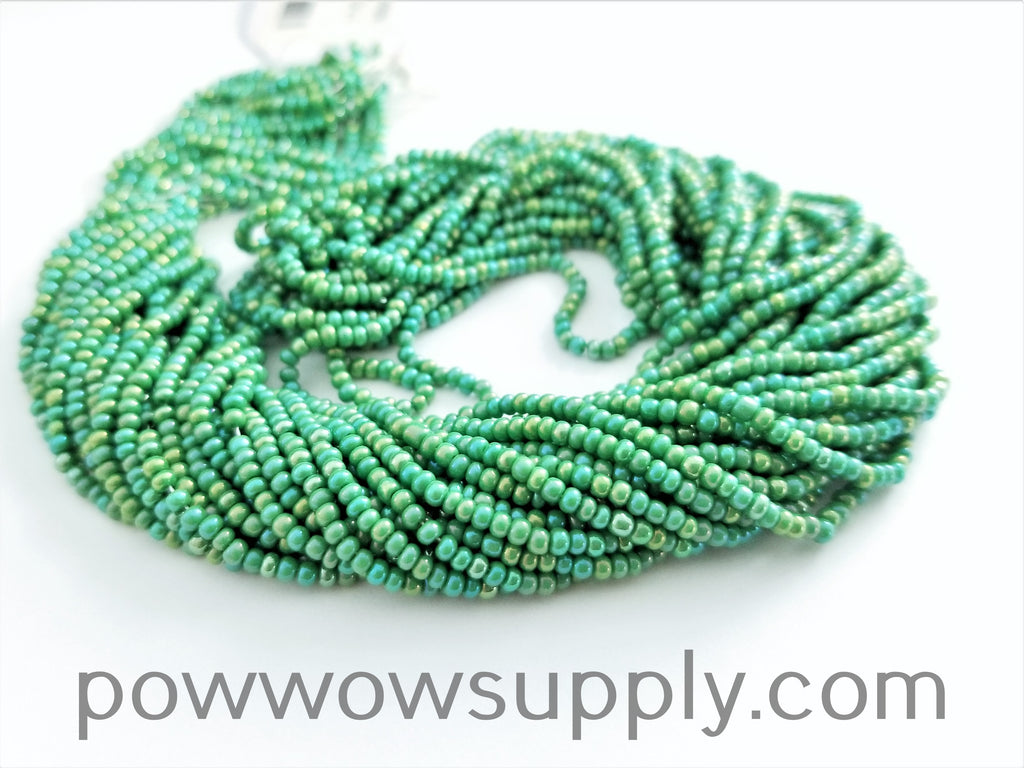 11/0 Seed Bead Opaque AB Medium Green